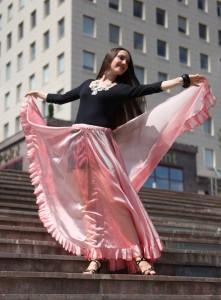 юбка розовая из органзы