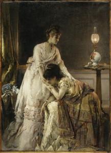 """Картина Альфреда Стивена """"После бала"""", 1874 год. На платье одной из девушек хорошо заметен узор """"пейсли"""""""